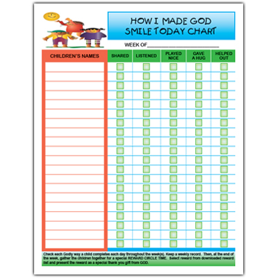 How I Made God Smile Today activity chart